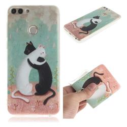 Black and White Cat IMD Soft TPU Cell Phone Back Cover for Huawei P Smart(Enjoy 7S)