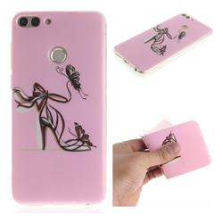 Butterfly High Heels IMD Soft TPU Cell Phone Back Cover for Huawei P Smart(Enjoy 7S)