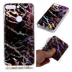 Black Brown Marble Pattern Bright Color Laser Soft TPU Case for Huawei P Smart(Enjoy 7S)