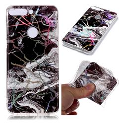 White Black Marble Pattern Bright Color Laser Soft TPU Case for Huawei P Smart(Enjoy 7S)