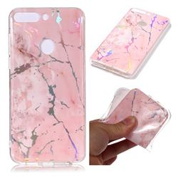 Powder Pink Marble Pattern Bright Color Laser Soft TPU Case for Huawei P Smart(Enjoy 7S)