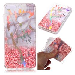 Powder Sandstone Marble Pattern Bright Color Laser Soft TPU Case for Huawei P Smart(Enjoy 7S)