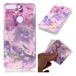 Purple Marble Pattern Bright Color Laser Soft TPU Case for Huawei P Smart(Enjoy 7S)