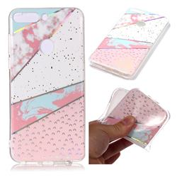 Matching Color Marble Pattern Bright Color Laser Soft TPU Case for Huawei P Smart(Enjoy 7S)