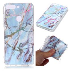 Light Blue Marble Pattern Bright Color Laser Soft TPU Case for Huawei P Smart(Enjoy 7S)