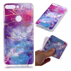 Dream Sky Marble Pattern Bright Color Laser Soft TPU Case for Huawei P Smart(Enjoy 7S)
