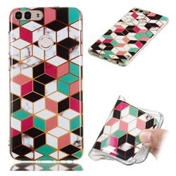 Three-dimensional Square Soft TPU Marble Pattern Phone Case for Huawei P Smart(Enjoy 7S)