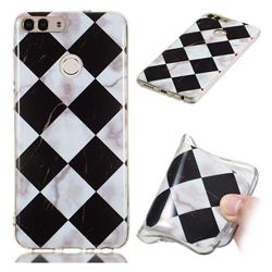 Black and White Matching Soft TPU Marble Pattern Phone Case for Huawei P Smart(Enjoy 7S)