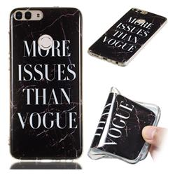 Stylish Black Soft TPU Marble Pattern Phone Case for Huawei P Smart(Enjoy 7S)