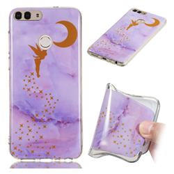 Elf Purple Soft TPU Marble Pattern Phone Case for Huawei P Smart(Enjoy 7S)