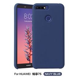 Howmak Slim Liquid Silicone Rubber Shockproof Phone Case Cover for Huawei P Smart(Enjoy 7S) - Midnight Blue
