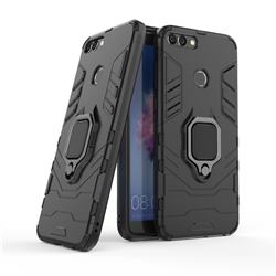 Black Panther Armor Metal Ring Grip Shockproof Dual Layer Rugged Hard Cover for Huawei P Smart(Enjoy 7S) - Black