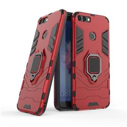 Black Panther Armor Metal Ring Grip Shockproof Dual Layer Rugged Hard Cover for Huawei P Smart(Enjoy 7S) - Red