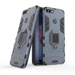 Black Panther Armor Metal Ring Grip Shockproof Dual Layer Rugged Hard Cover for Huawei P Smart(Enjoy 7S) - Blue