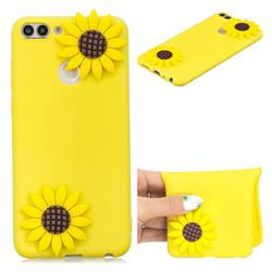 Yellow Sunflower Soft 3D Silicone Case for Huawei P Smart(Enjoy 7S)