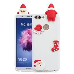 White Santa Claus Christmas Xmax Soft 3D Silicone Case for Huawei P Smart(Enjoy 7S)