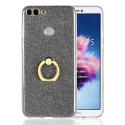 Luxury Soft TPU Glitter Back Ring Cover with 360 Rotate Finger Holder Buckle for Huawei P Smart(Enjoy 7S) - Black