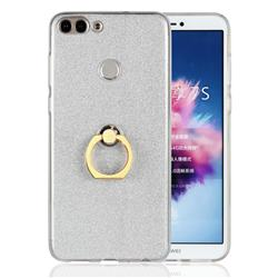 Luxury Soft TPU Glitter Back Ring Cover with 360 Rotate Finger Holder Buckle for Huawei P Smart(Enjoy 7S) - White