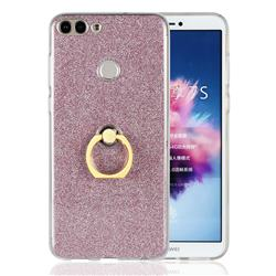 Luxury Soft TPU Glitter Back Ring Cover with 360 Rotate Finger Holder Buckle for Huawei P Smart(Enjoy 7S) - Pink