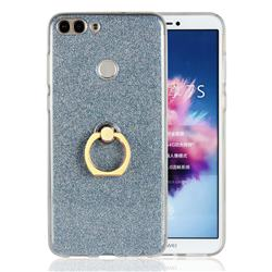 Luxury Soft TPU Glitter Back Ring Cover with 360 Rotate Finger Holder Buckle for Huawei P Smart(Enjoy 7S) - Blue