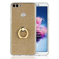 Luxury Soft TPU Glitter Back Ring Cover with 360 Rotate Finger Holder Buckle for Huawei P Smart(Enjoy 7S) - Golden