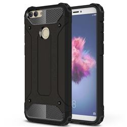 King Kong Armor Premium Shockproof Dual Layer Rugged Hard Cover for Huawei P Smart(Enjoy 7S) - Black Gold
