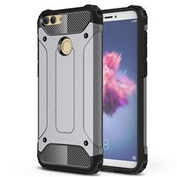 King Kong Armor Premium Shockproof Dual Layer Rugged Hard Cover for Huawei P Smart(Enjoy 7S) - Silver Grey