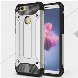 King Kong Armor Premium Shockproof Dual Layer Rugged Hard Cover for Huawei P Smart(Enjoy 7S) - Technology Silver