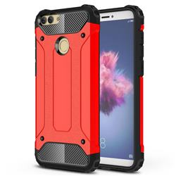 King Kong Armor Premium Shockproof Dual Layer Rugged Hard Cover for Huawei P Smart(Enjoy 7S) - Big Red