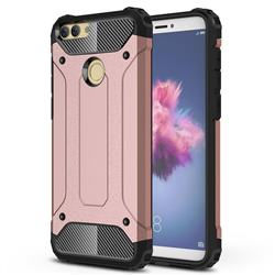 King Kong Armor Premium Shockproof Dual Layer Rugged Hard Cover for Huawei P Smart(Enjoy 7S) - Rose Gold