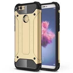 King Kong Armor Premium Shockproof Dual Layer Rugged Hard Cover for Huawei P Smart(Enjoy 7S) - Champagne Gold