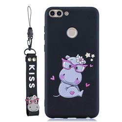 Black Flower Hippo Soft Kiss Candy Hand Strap Silicone Case for Huawei P Smart(Enjoy 7S)