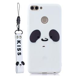 White Feather Panda Soft Kiss Candy Hand Strap Silicone Case for Huawei P Smart(Enjoy 7S)