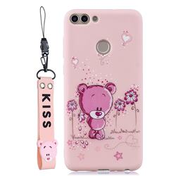 Pink Flower Bear Soft Kiss Candy Hand Strap Silicone Case for Huawei P Smart(Enjoy 7S)