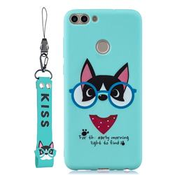 Green Glasses Dog Soft Kiss Candy Hand Strap Silicone Case for Huawei P Smart(Enjoy 7S)