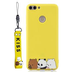 Yellow Bear Family Soft Kiss Candy Hand Strap Silicone Case for Huawei P Smart(Enjoy 7S)