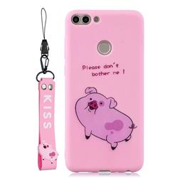 Pink Cute Pig Soft Kiss Candy Hand Strap Silicone Case for Huawei P Smart(Enjoy 7S)