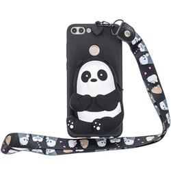Cute Panda Neck Lanyard Zipper Wallet Silicone Case for Huawei P Smart(Enjoy 7S)