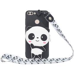 White Panda Neck Lanyard Zipper Wallet Silicone Case for Huawei P Smart(Enjoy 7S)
