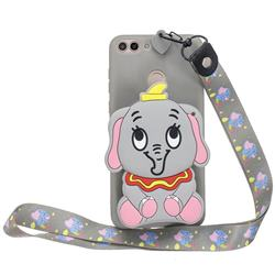 Gray Elephant Neck Lanyard Zipper Wallet Silicone Case for Huawei P Smart(Enjoy 7S)