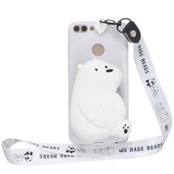 White Polar Bear Neck Lanyard Zipper Wallet Silicone Case for Huawei P Smart(Enjoy 7S)