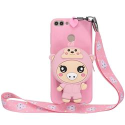 Pink Pig Neck Lanyard Zipper Wallet Silicone Case for Huawei P Smart(Enjoy 7S)