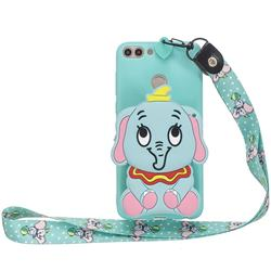 Blue Elephant Neck Lanyard Zipper Wallet Silicone Case for Huawei P Smart(Enjoy 7S)