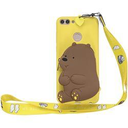 Yellow Bear Neck Lanyard Zipper Wallet Silicone Case for Huawei P Smart(Enjoy 7S)
