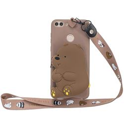Brown Bear Neck Lanyard Zipper Wallet Silicone Case for Huawei P Smart(Enjoy 7S)