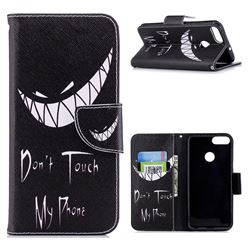 Crooked Grin Leather Wallet Case for Huawei P Smart(Enjoy 7S)