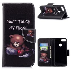 Chainsaw Bear Leather Wallet Case for Huawei P Smart(Enjoy 7S)