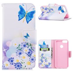 Butterflies Flowers Leather Wallet Case for Huawei P Smart(Enjoy 7S)