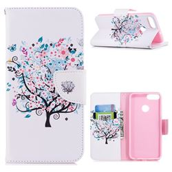 Colorful Tree Leather Wallet Case for Huawei P Smart(Enjoy 7S)