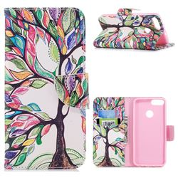 The Tree of Life Leather Wallet Case for Huawei P Smart(Enjoy 7S)